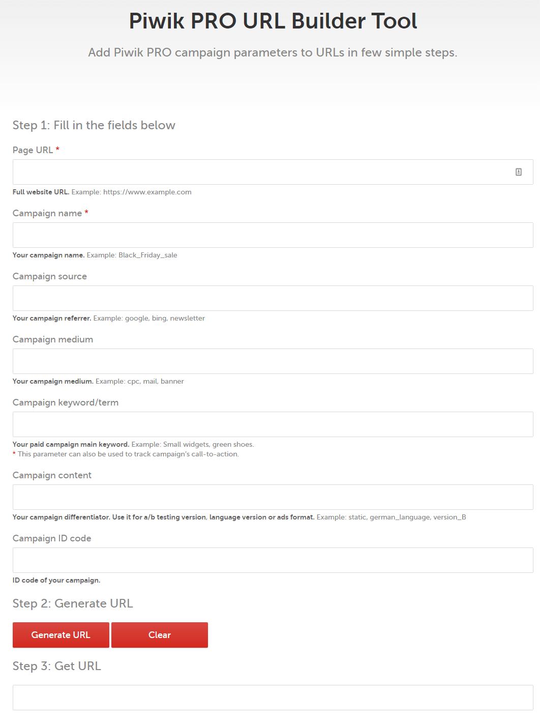 Piwik PRO URL Builder Tool