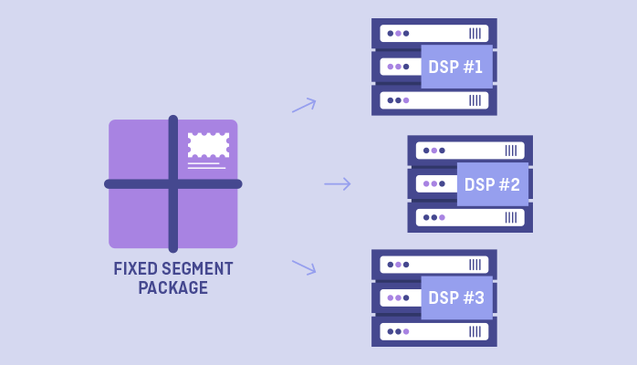 A fixed audience segment is exported to a DSP or sold to an interested advertiser.