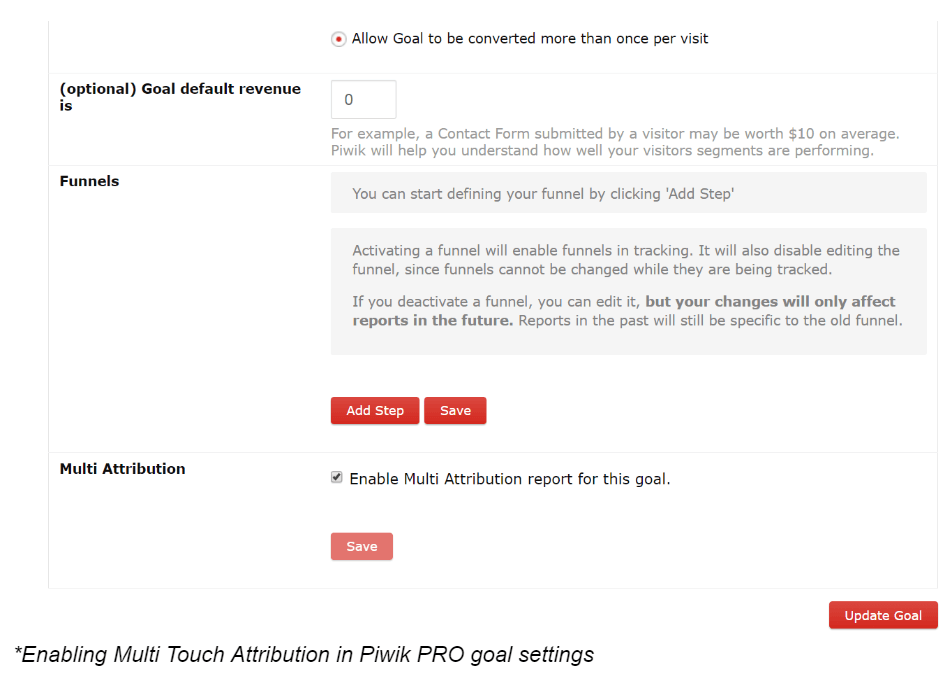 Enabling Multi Touch Attribution in Piwik PRO goal settings