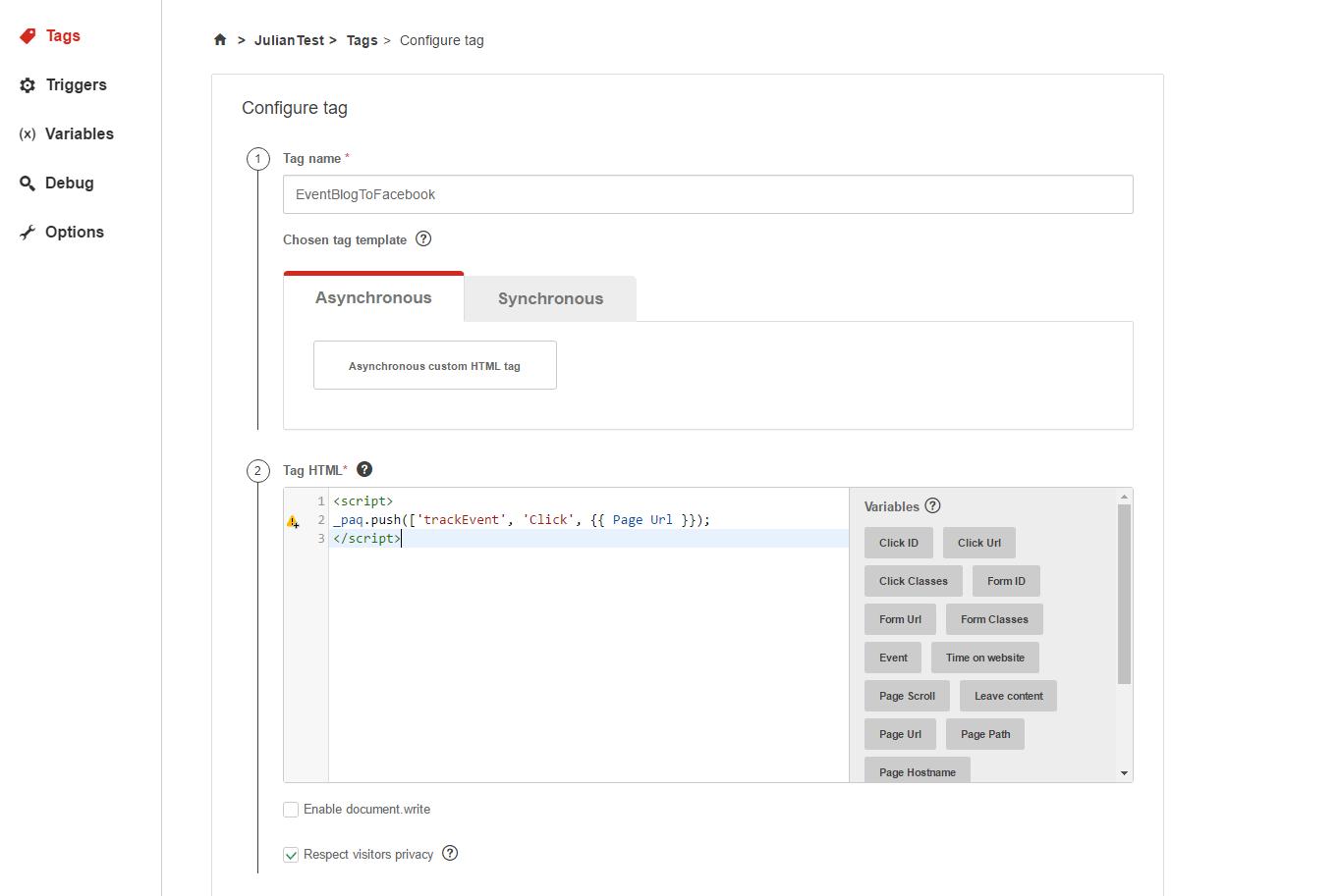 Create and Configure tag