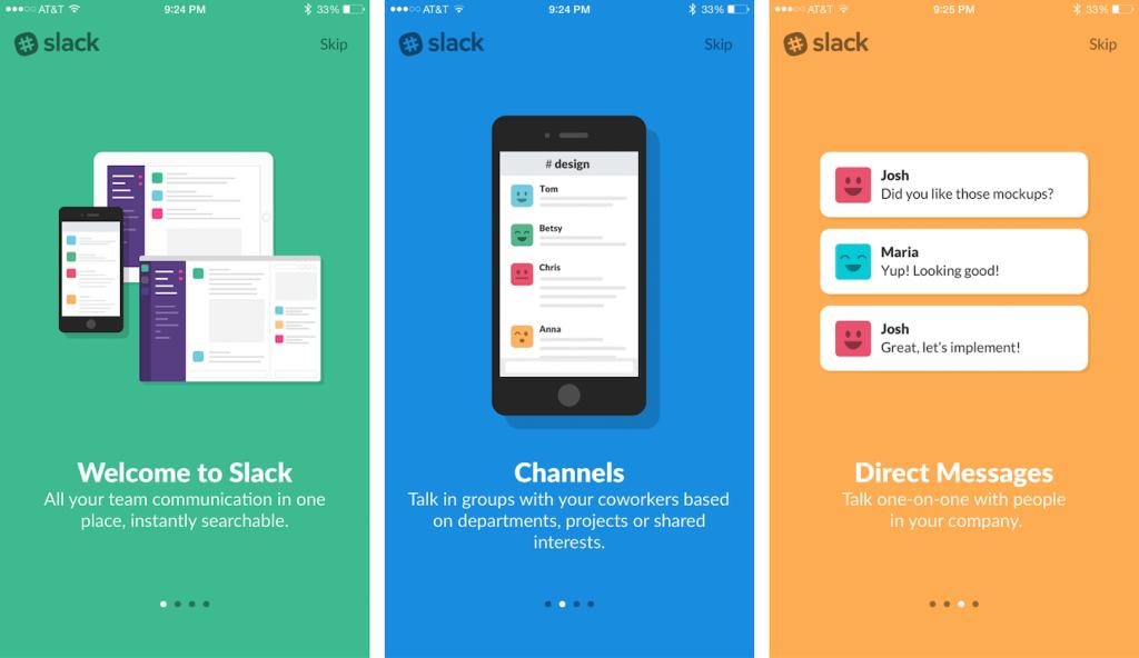 Sample onboarding screens from Slack