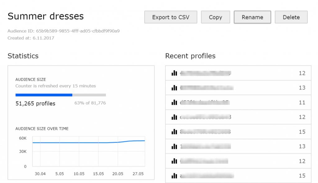 A sample audience from Piwik PRO Customer Data Platform